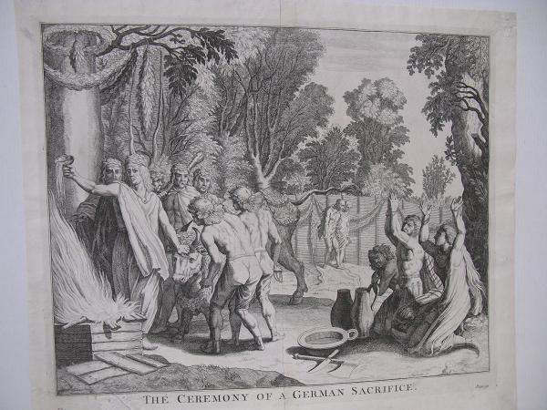 Kuparipiirros The Ceremony of a German Sacrifice, Cornelis Huyberts 1696